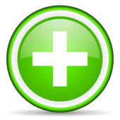 Emergency green glossy icon on white background — Stock Photo