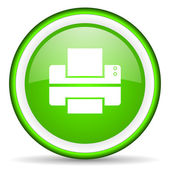 Printer green glossy icon on white background — Stock Photo