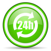 24h green glossy icon on white background — Stock Photo