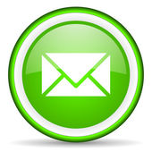 Mail green glossy icon on white background — Stock Photo