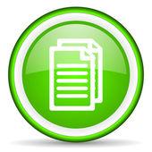 Icono brillante documento verde sobre fondo blanco — Foto de Stock