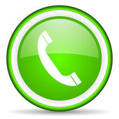 Telephone green glossy icon on white background — Stock Photo