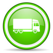 Delivery green glossy icon on white background — Photo