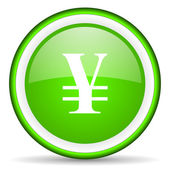 Yen green glossy icon on white background — Stock Photo