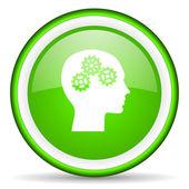 Cabeça verde ícone brilhante sobre fundo branco — Fotografia Stock