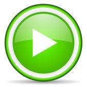 Jugar icono verde brillante sobre fondo blanco — Foto de Stock