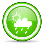 Weather green glossy icon on white background — Stock Photo
