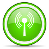 Wifi green glossy icon on white background — Stock Photo