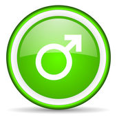 Sex green glossy icon on white background — Stock Photo