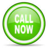 Call now green glossy icon on white background — Stock Photo