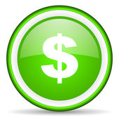 Us dollar green glossy icon on white background — Stock Photo