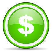 Us dollar green glossy icon on white background — Stock Photo