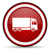 Delivery red glossy icon on white background — Stock Photo