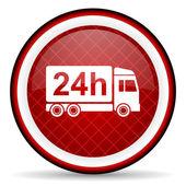 Icona lucido di consegna 24h rossa su sfondo bianco — Foto Stock