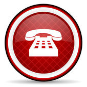 Telephone red glossy icon on white background — Stock Photo