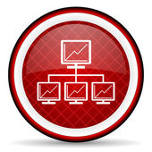 Network red glossy icon on white background — Stock Photo