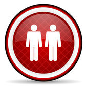 Couple red glossy icon on white background — Stock Photo