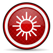 Sun red glossy icon on white background — Stock Photo