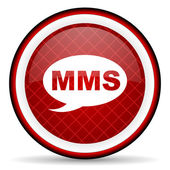 Mms red glossy icon on white background — Stock Photo