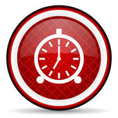 Alarm clock red glossy icon on white background — 图库照片