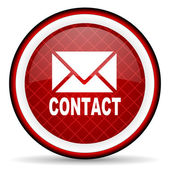 Contact red glossy icon on white background — Stock Photo