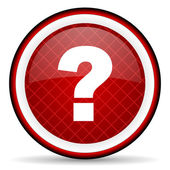Question mark red glossy icon on white background — Stock Photo