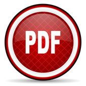 Pdf red glossy icon on white background — Stock Photo