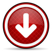 Arrow down red glossy icon on white background — Stock Photo