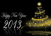 2013 new years illustration with christmas tree — Stock Photo
