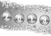 2013 new years decoration with christmas balls and snowflakes — Stock Photo