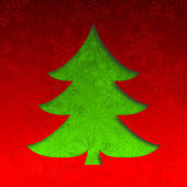 Christmas tree illustration with snowflakes on red background — Stock Photo