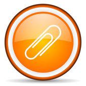 Paper clip orange glossy circle icon on white background — Stock Photo