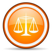 Justice orange glossy circle icon on white background — Stock Photo