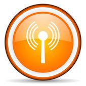 Wifi orange glossy circle icon on white background — Stock Photo