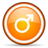 Sex orange glossy circle icon on white background — Stock Photo