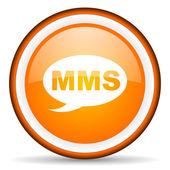 Mms orange glossy circle icon on white background — Stock Photo
