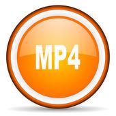 Значок оранжевый глянцевая круг MP4 на белом фоне — Стоковое фото