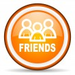 Friends orange glossy circle icon on white background — Stock Photo