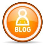 Blog orange glossy circle icon on white background — Stock Photo