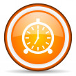 Stock Photo: Alarm clock orange glossy circle icon on white background
