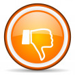 Stock Photo: Thumb down orange glossy circle icon on white background