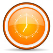 Clock orange glossy circle icon on white background — Stock Photo