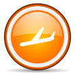 Airplane orange glossy circle icon on white background — Stock Photo