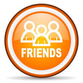 Friends orange glossy circle icon on white background — Stock Photo