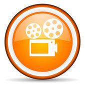 Cinema orange glossy circle icon on white background — Stock Photo