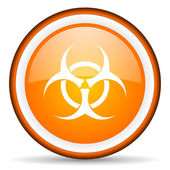 Virus orange glossy circle icon on white background — Stock Photo