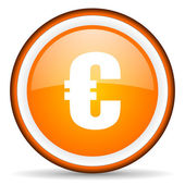 Euro orange glossy circle icon on white background — Stock Photo