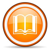 Book orange glossy circle icon on white background — Stock Photo