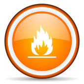 Flames orange glossy circle icon on white background — Stock Photo