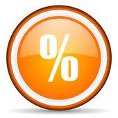 Percent orange glossy circle icon on white background — Stock Photo